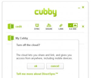Cubby - App Turn Off Cloud