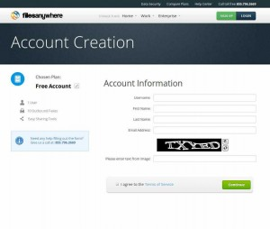 FilesAnywhere - Account Creation
