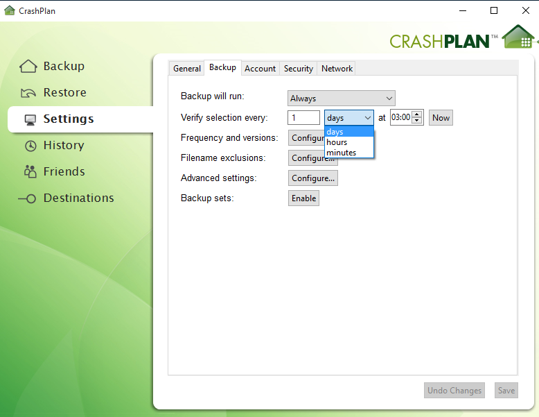 Crashplan-settings