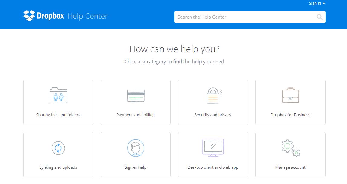 Dropbox-help-center