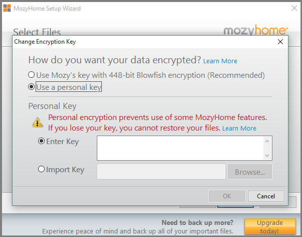 Mozy-encryption-options