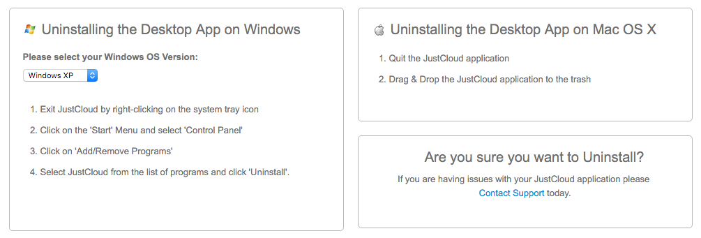 uninstall JustCloud
