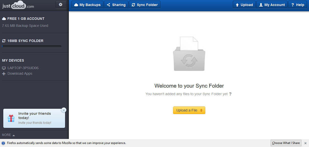JustCloud sync folders