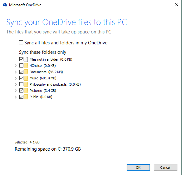 OneDrive select features
