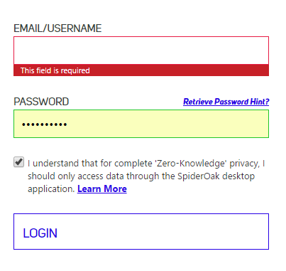 SpiderOak web login