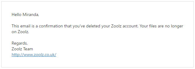 Zoolz account deletion