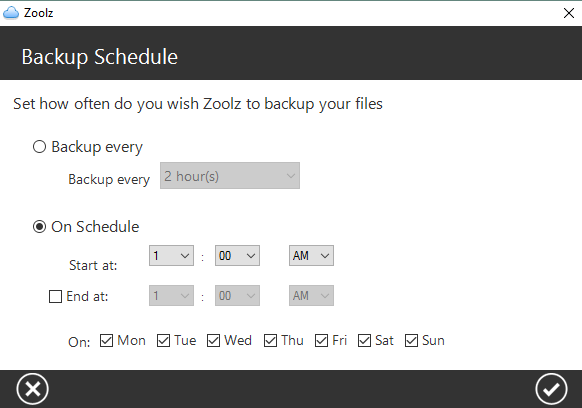Zoolz backup scheduling