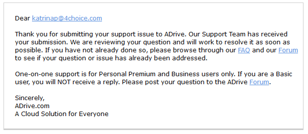 adrive customer service