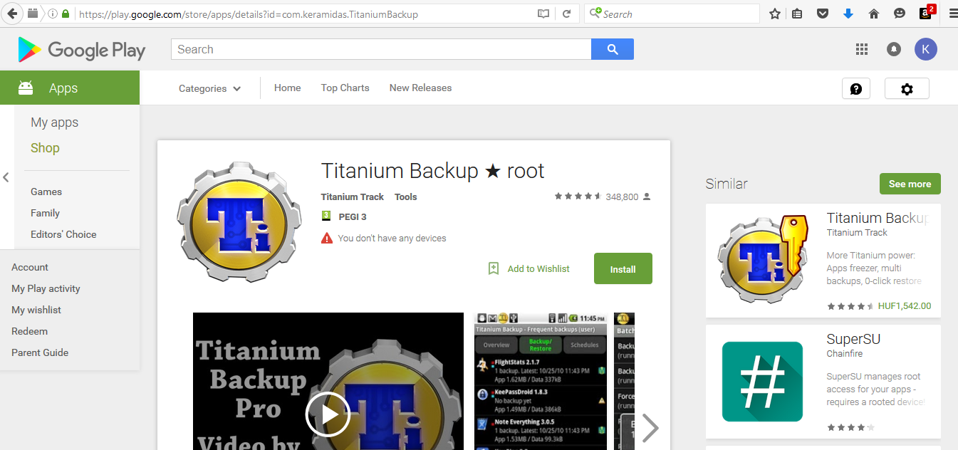 titanium android backup
