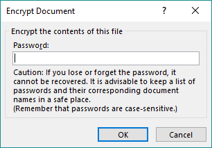MS Word encrypt with password