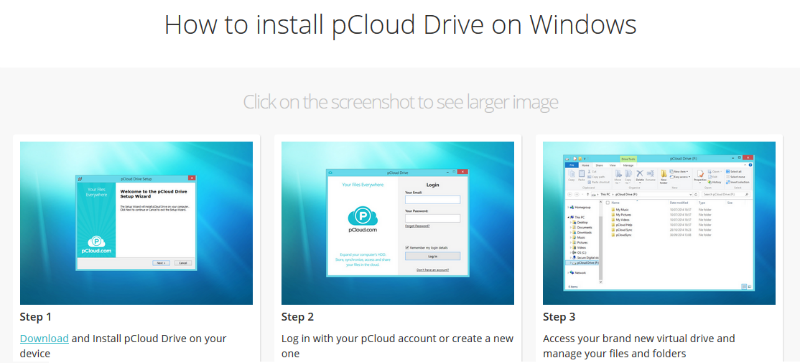 install pCloud